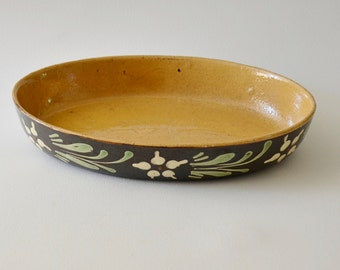 Antique French Alsace Pottery Pie Dish