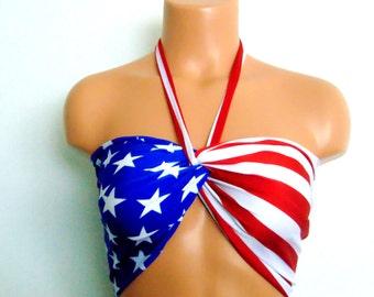 Bandeau, American flag twisted bikini top with Pads, USA Bandeau, Bikini top, Swimsuit top, Spandex bandeau, 4th of July bandeau top,