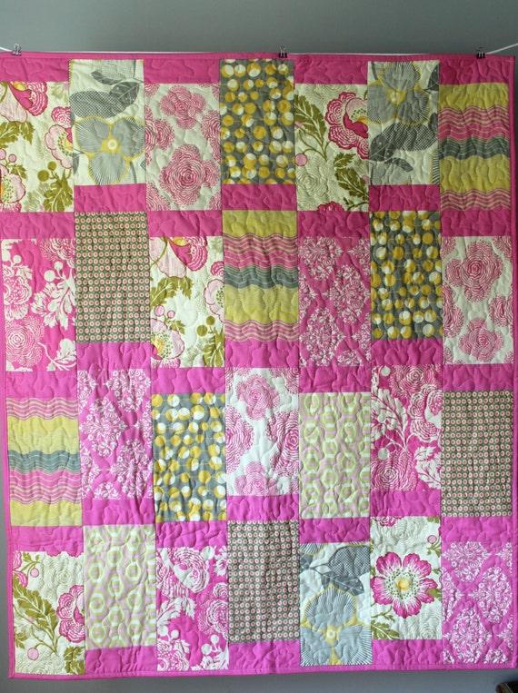 Modern baby girl quilt pink nursery bedding amy butler - Modern baby girl crib bedding ...