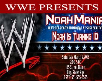 WWE Fan Invitation / WWE Invitation / wwe Birthday Invitation