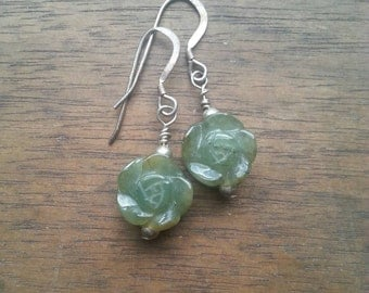 SALE!!  New lower price! Beautiful vintage silver and carved jade rose earrings