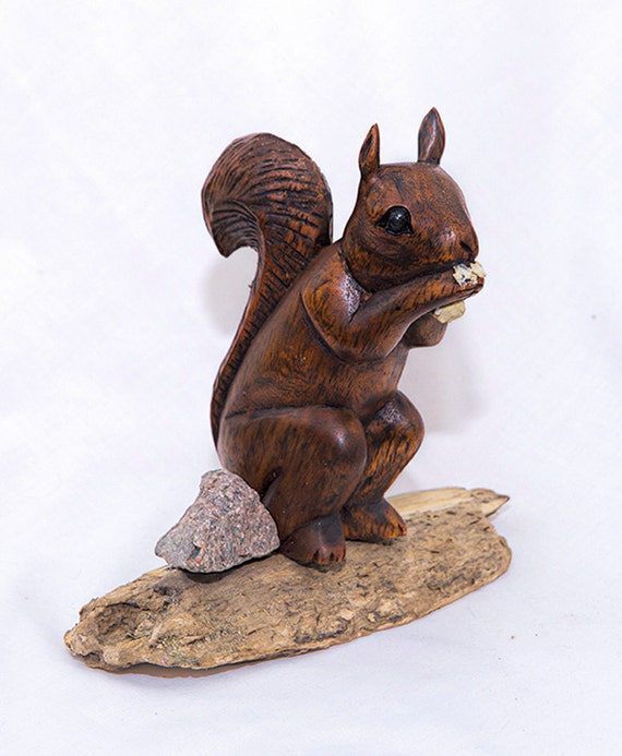 Wood squirrel hand carved