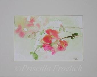 Flowering Quince Watercolor Art