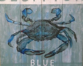 Bluffton Blue Crab Wooden Sign