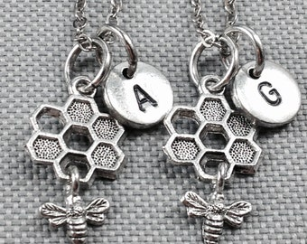 Best friend necklace, honey comb necklace, bee necklace, friendship necklace, bff necklace, friend necklace, personalized necklace