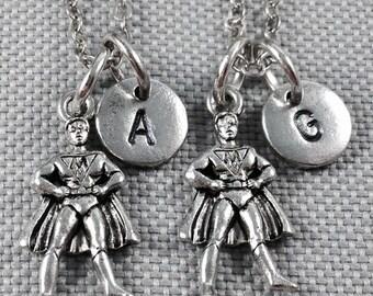 Best friend necklace, superhero necklace, friendship necklace, bff necklace, personalized necklace, friend necklace, gift for friend