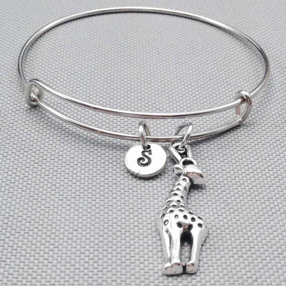 Giraffe Charm Bracelet: Giraffe Bangle Bracelet Animal Bracelet Charm By Toodaughters