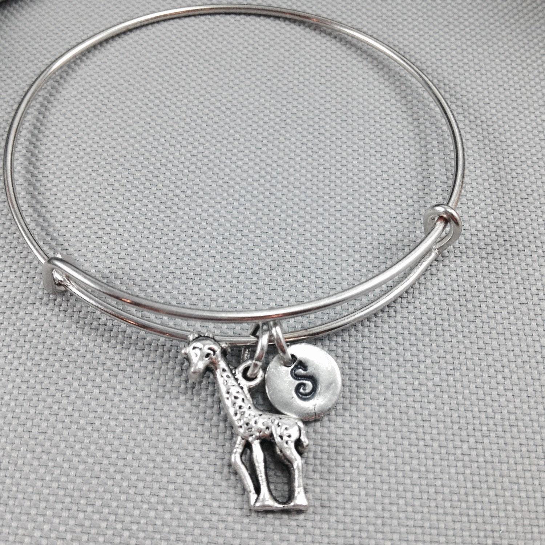 Giraffe Charm Bracelet: Giraffe Bangle Bracelet Giraffe Charm Bracelet By Toodaughters