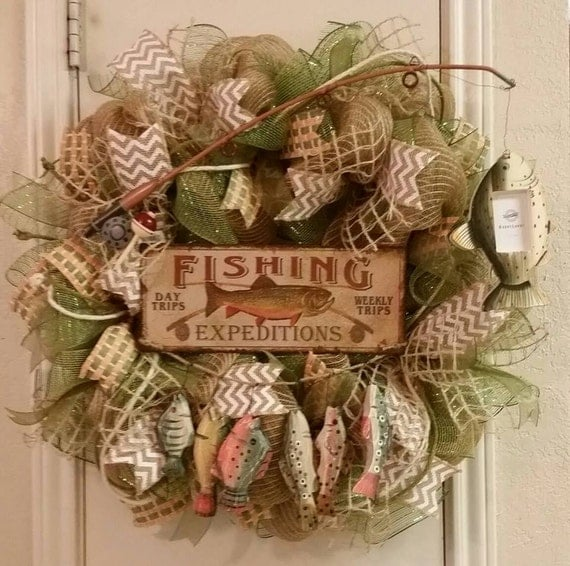 Man Cave Fishing Decor : Items similar to fishing wreath gone fishin father s day
