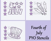 4th of July PYO Cookie Stencils (3 separate stencils)