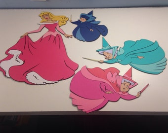 Sleeping Beauty and her 3 Fairies Fauna, Flora and Merryweather die cuts