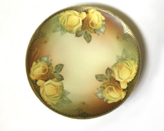 Vintage Thomas Sevres Porcelain Decorative Plate with Yellow Roses Hand Painted Signed Bavaria