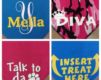 Personalized doggie bandanas  3 sizes  customized assorted colors dog bandanas
