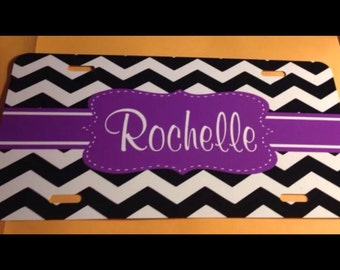 Black chevron monogrammed license plate purple initials personalized license plate new metal monogrammed car tag