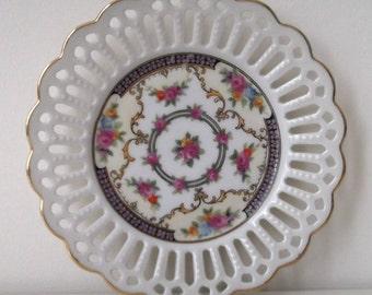 Lovely Porcelain Handpainted Open Weave Plate...Made in Germany..Gilded Gold Trimming...Floral...Vintage Shabby Chic