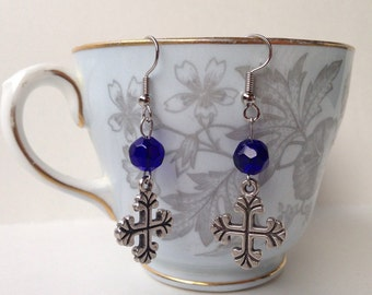 Gothic Cross Earrings - Gothic Earrings With Glass Beads