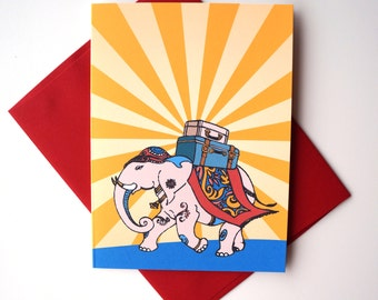 India Elephant, Traveling Greeting Card : FREE SHIPPING