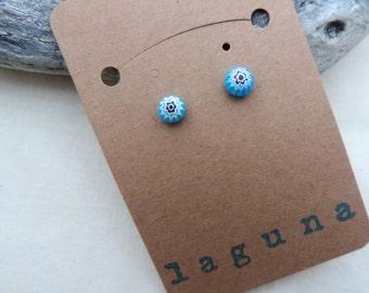 Blue, black and white millefiori Venetian glass round earring studs