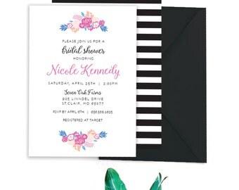 shower invitation floral bridal shower kate spade inspired shower