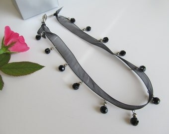 Choker, choker necklace, ribbon necklace, black choker, black ribbon choker, black necklace, ribbon choker with black beads
