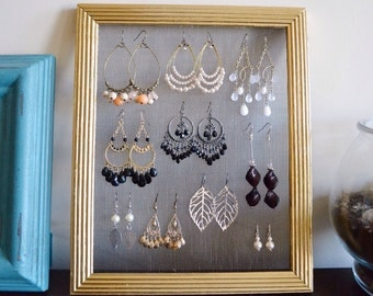 Gold Frame Earring Organizer and Display