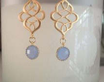 Blue gold wired earrings