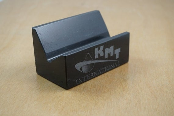 Black marble business card holder personalized by for Marble business card holder