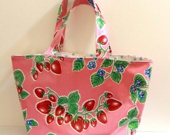 Adorable All Oilcloth Market Bag-Strawberries On Pink Outside-Turquoise Polka Dot Inside-Pockets And Reinforced Bottom-Great For Shopping!