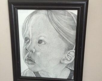 Custom pencil graphite portrait drawing