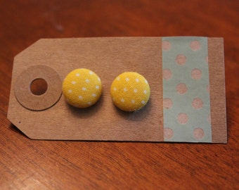 SALE || Yellow Dots Fabric Button Earrings - Small