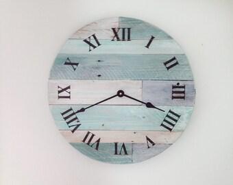 "Beach Wall Clocks, Reclaimed Wood Clock, 16"" pallet wood clock, Rustic Wall Clock, Wood Beach Clock, Beach Clock Decor, Shabby Chic Clocks"