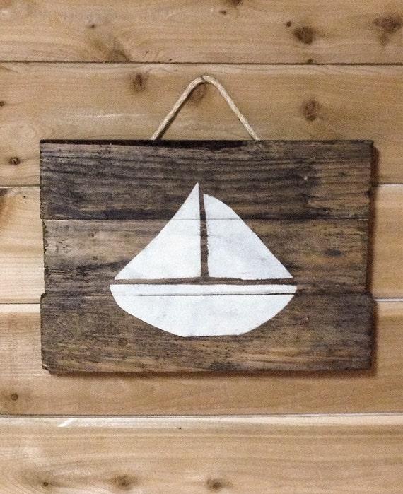 Wood Sailboat Wall Decor : Stenciled rustic sailboat wall placque a hanging made