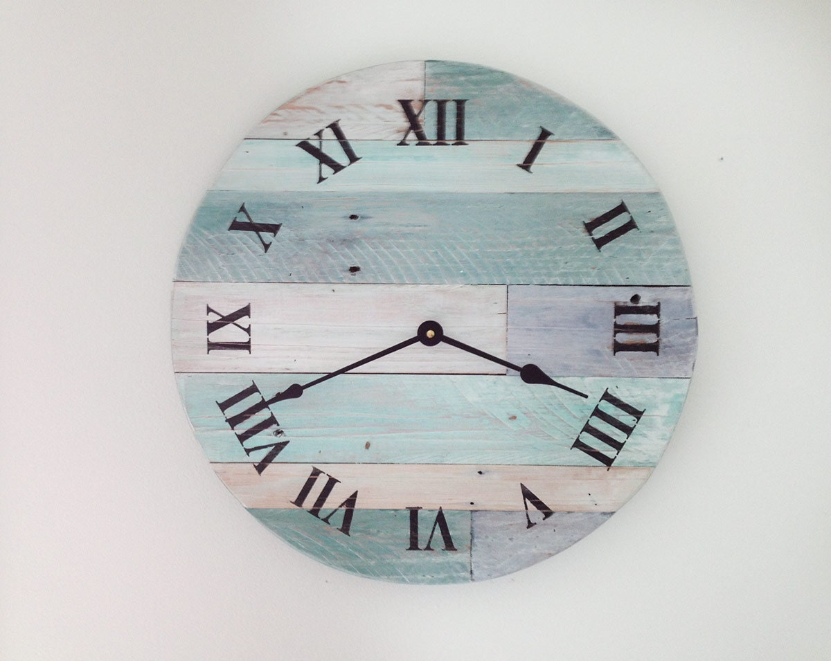 Beach Wall Clocks Reclaimed Wood Clock 16 Pallet Wood