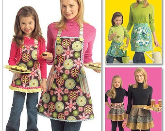 Matching Mom & Girls Apron Pattern, McCall's 5720,  3 matching styles, half apron, ruffled tiers, bib w/ contrast pocket, UN-CUT