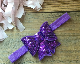 Sequin Bow Headband Purple
