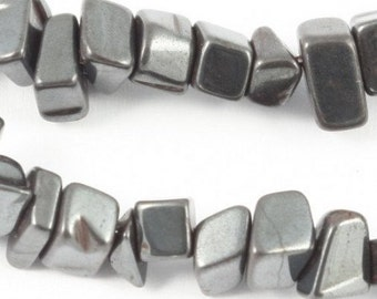 Wire chips beads Hematite real - 90cm wire
