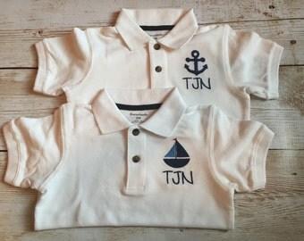 SALE!!       Custom monogrammed boys polo, custom monogrammed toddler polo, 4th of july polo
