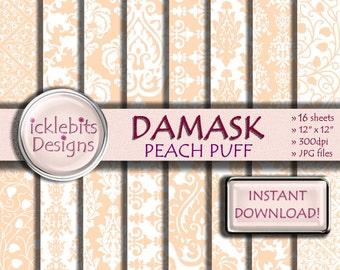 "Peach Damask Digital Paper Pack, ""PEACH PUFF DAMASK"" For Scrapbooking,high resolution, damask digital paper, lace digital paper, Design #56"