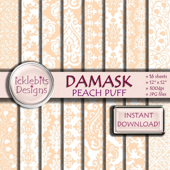 "Peach Damask Digital Paper Pack, ""PEACH PUFF DAMASK"" For Scrapbooking,high resolution, damask digital paper, lace digital paper, Design #56"