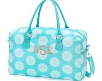 Monogram Aqua Maddie Weekender Bag