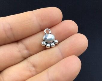 10pcs Small Pet Paw Tibetan Silver Charm