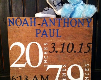 Personalized baby stats announcement board - hand painted, wood sign, birth announcement board, new baby gift