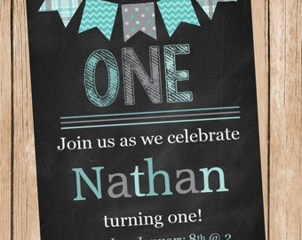Blue Bunting Chalkboard Birthday Invitation