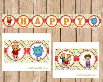 Daniel Tiger Happy Birthday Banner, DIY, Instant Download