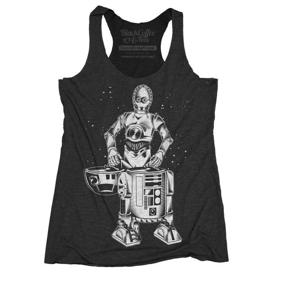 Star Wars Shirt - Womens R2D2 - C3PO - DJ Shirt - Womens Star Wars Tank Top - R2D2 and C3PO Hand Screen Printed on a Womens Tank Top