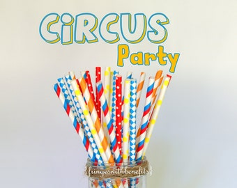 Circus Theme Birthday Multipack Paper Party Straws 25 Count/Circus Birthday Party/Kids Birthday Straws/Circus Inspired Drinking Straws
