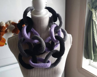 Infinity Scarf, Circle Scarf, Chainlink, Chain Link, Crochet Scarf, Black, Grey, Purple