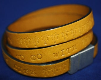 Leather bracelet sun yellow with individual stamps/ text