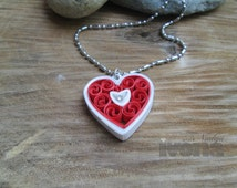 Quilling necklace - Red Heart, paper quilling jewelry, paper jewelry, quilling necklace, papper necklace