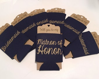 Bridesmaid Proposal Coozie Cozy Can Cooler Navy | Will you be my Maid of Honor Bridesmaid | Bridal Party
